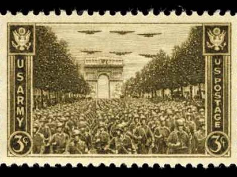 3 cent stamp reading US Army down each side, and showing soldiers at Arc de Triomphe  in Paris