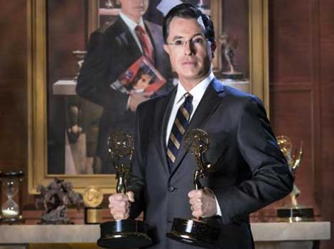 2014 portrait of Stephen Colbert, his likeness six times
