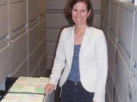 Susan Garton in Catalog of American Portraits file room