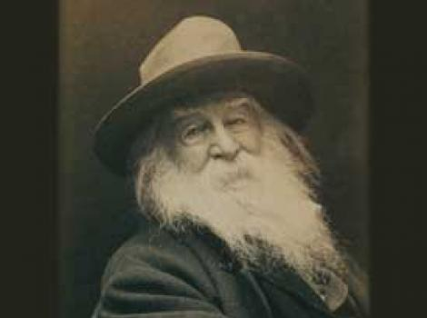 """Cover of """"Swift to My Wounded"""" with bearded Walt Whitman"""