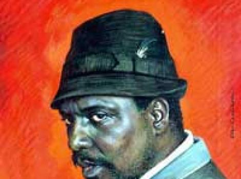 Painted portrait of Thelonious Monk, with red background, wearing hat