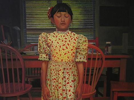 Painting of a girl wearing a flowered dressed looking at the floor