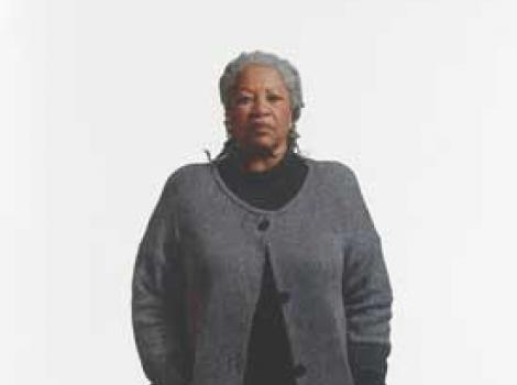 Painted portrait of Toni Morrison standing, centered on white background