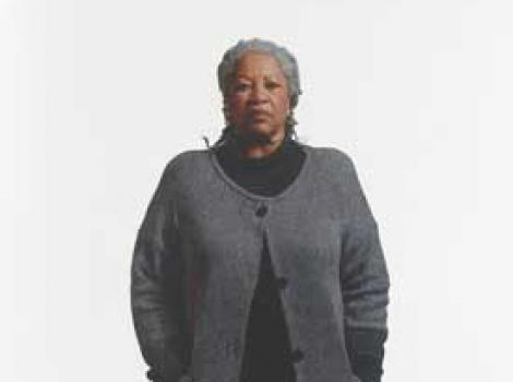 Painted portrait of Toni Morrison, standing and centered on a white background