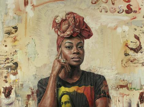 Painting of a woman with a head wrap looking straight ahead