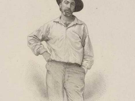 Walt Whitman in hat and casual pose