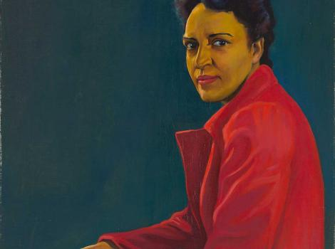 A painting of a seated women in profile and wearing a red dress