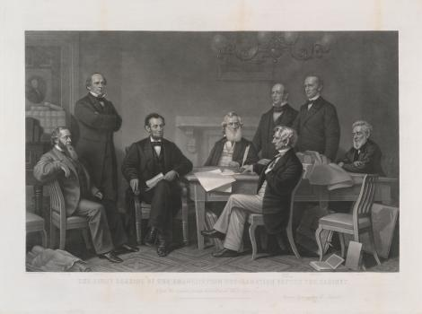 A print of men sitting around a table surrounded by books and paper