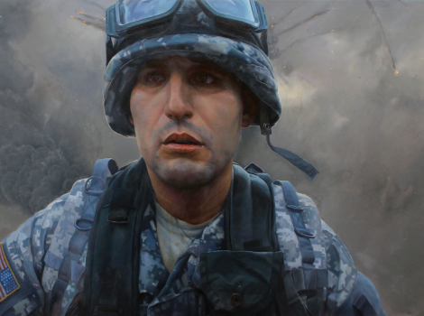 Painting of a soldier running away from an explosion in an American military uniform
