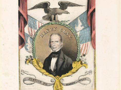 Print of man in a circle with red curtains and an eagle