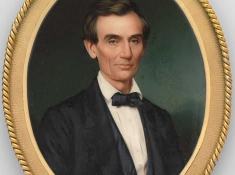 Oval painting of Abraham Lincoln looking at the viewer