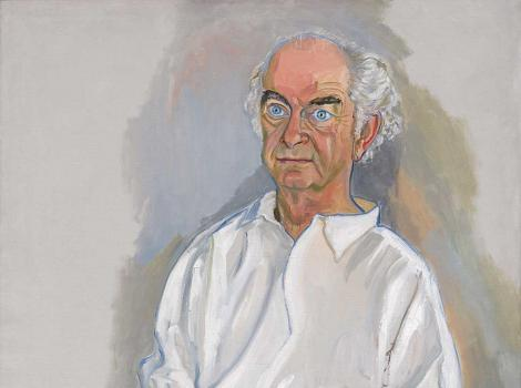 Painting of a man wearing a white shirt sitting in a chair and staring straight ahead