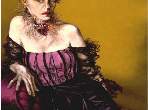 Portrait of Lotte Lenya, woman in purple dress