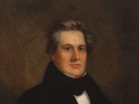 Painted bust portrait of a man in a suit