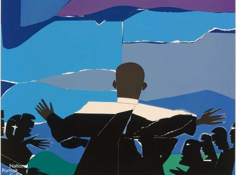 A colorful collage of silhouettes of people