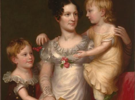 A painted portrait of a woman holding and interacting with two children