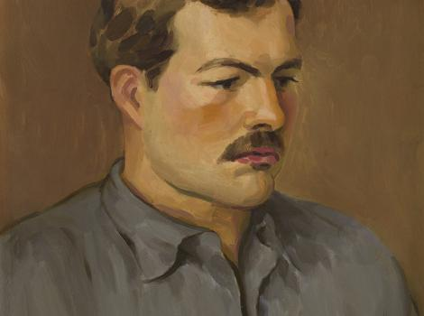 Portrait of a man with brown hair and a moustache facing 3/4 right
