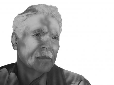 Black and white drawing of bust of man looking out past the viewer