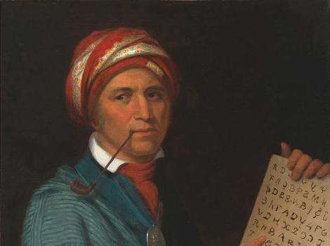 Painting of a seated man pointing at a book