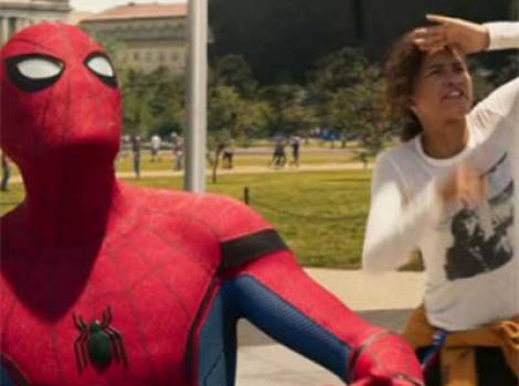 Spider-Man and woman wearing Sylvia Plath t-shirt, both of them looking up