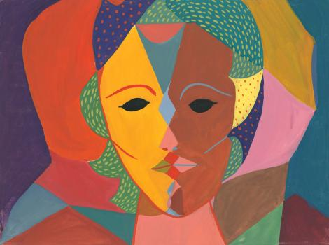 A geometric portrait of a woman with two faces