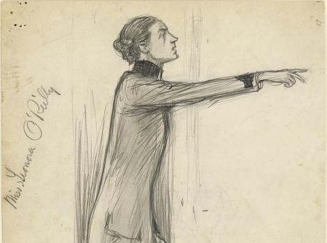 A graphite drawing of a person in profile pointing to the right