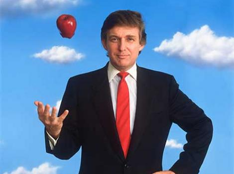 Photograph portrait of Donald Trump in a suit and tossing an apple in the air.  The background is blue sky with clouds.