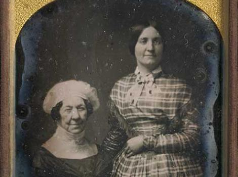Daguerreotype of an older woman (Dolley Madison) and a younger woman (Anna Payne)