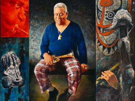 Colorful portrait of a man in plaid pants.