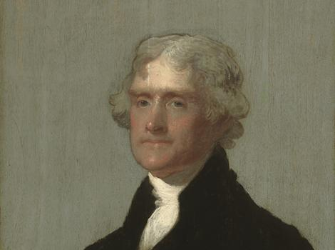 man facing left with powdered hair, white cravat and black coat