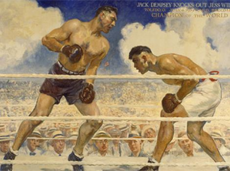 Dempsey-Willard Fight Jack Dempsey and Jess Willard Artist: James Montgomery Flagg  1944 Oil on canvas