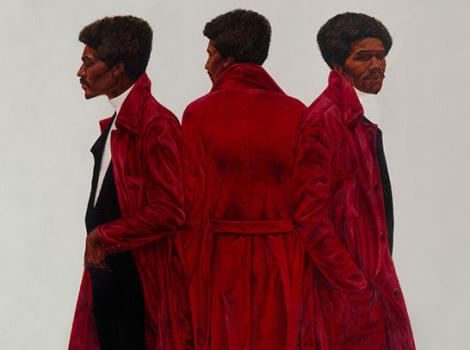 Three different views of the same man in a red coat