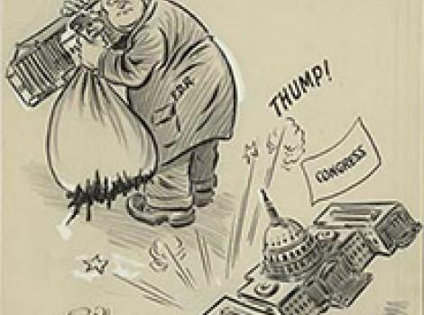 Political cartoon of Franklin Roosevelt