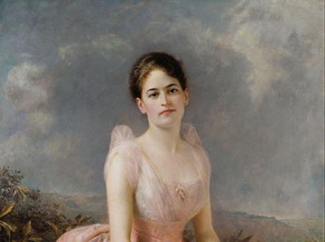 Formal painted portrait of young Juliette Gordon Low, in pink dress