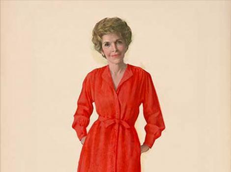 Portrait of Nancy Reagan in a red dress