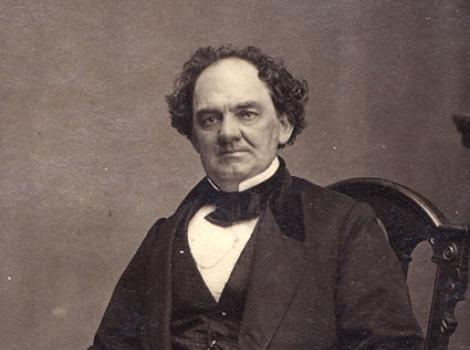 Formal photographic portrait of Phineas Barnum