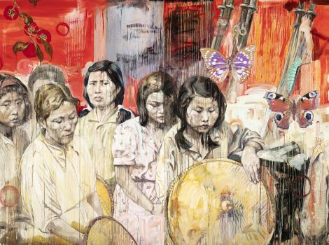 colorful painting of a group of young Asian women