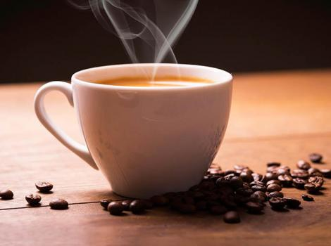 photo of a steaming cup of coffee