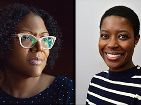 Headshots of two African American women, one with glasses and another with short hair and a striped shirt