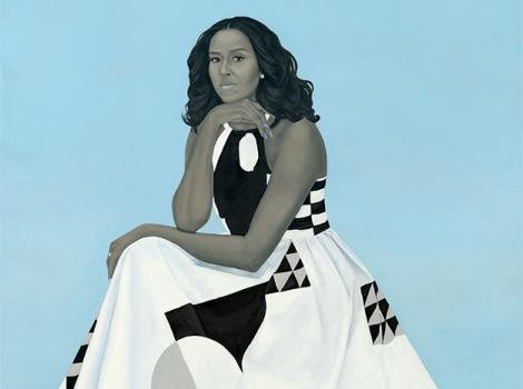 Michelle Obama in a white dress