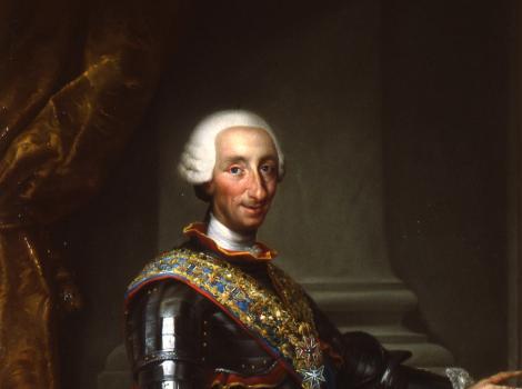 King wearing royal  regalia