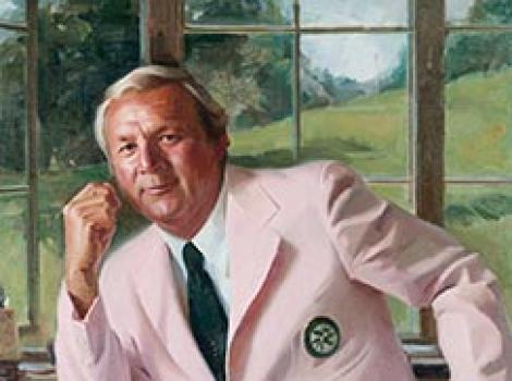 Man in a pink jacket with gray hair (Arnold Palmer)