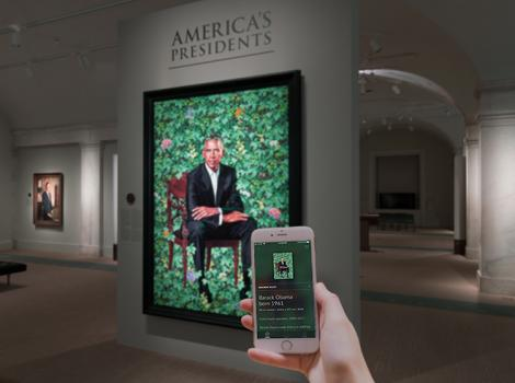 visitor using the application in the presidential gallery