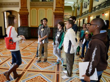 A school tour in the museum's Great Hall