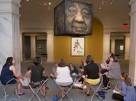 Teachers in the gallery