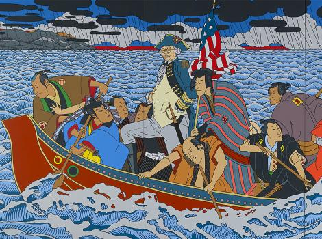 Asian American men in a boat crossing a river