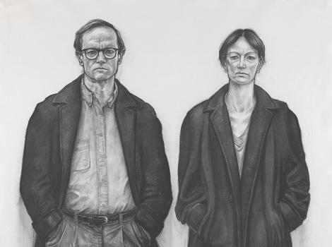 Charcoal  drawing of a man and woman in overcoats