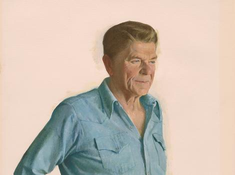 Portrait of Ronald Reagan in jeans and workshirt