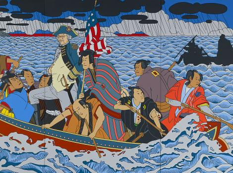 Colorful painting of Jamanese figures in a boat crossing a river