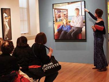 A museum docent speaking about portrait